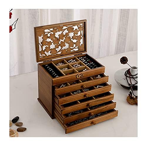 Joyero Caja de almacenamiento de joyas de 6 capas caja de almacenamiento retro de madera multifunción con cerradura grande Caja de joyería de gran capacidad caja de almacenamiento Gabinete de joyería