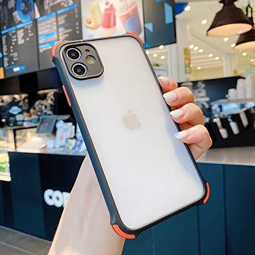 Fashion a Prueba de Golpes a Prueba de choques para iPhone 11 Pro MAX XR XR XS MAX X 8 7 6 6S Plus SE 2020 Matte Matte Transparente Casos de Lujo (Color : Black, Material : For iPhone 7plus)