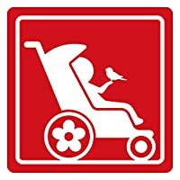 imoninn ベビーカー バギーサイン 子供用障害者マーク 障害児マーク 【カッティングステッカー】 車いすサイン・福祉車両用 (赤色)