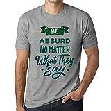Photo de Homme T Shirt Graphique Imprimé Vintage Tee Be Yourself Absurd Gris Chiné