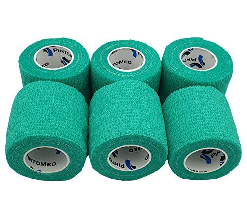 No más pobres adherencia - Verde - Vendaje Estirada 6 Rollos x 5 cm x 4,5 m Autoadhesivo Flexible Vendaje, Calidad Profesional, Primeros Auxilios Deportes Wrap Vendas - Pack de 6