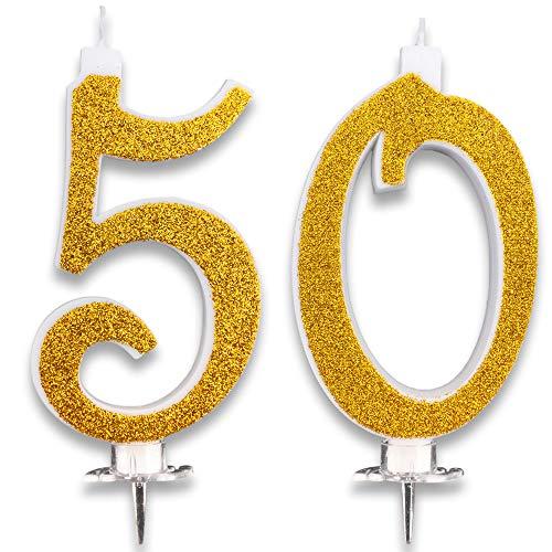 Velas Maxi de 50 años para Tarta, Fiesta, cumpleaños, Boda, 50 años, decoración, Velas...
