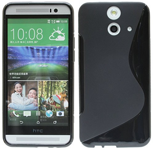 ENERGMiX Silikon Hülle kompatibel mit HTC One E8 Tasche Hülle Gummi Schutzhülle Zubehör in Schwarz