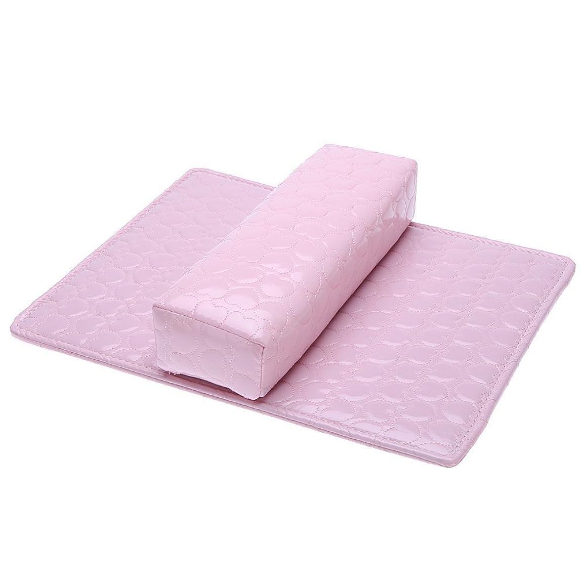 ACAMPTAR ソフトハンドクッション枕とパッドレストネイルアートアームレストホルダー マニキュアネイルアートアクセサリー PUレザー ピンク