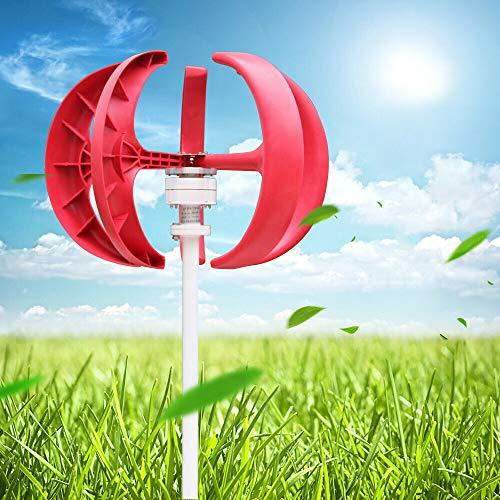 Windkraftanlage 600W Windturbine Generator Weiß Laterne Vertikale Windgenerator 5 Blätter Windkraftanlage Kit mit Controller 12V/24V (Rot, 12V)