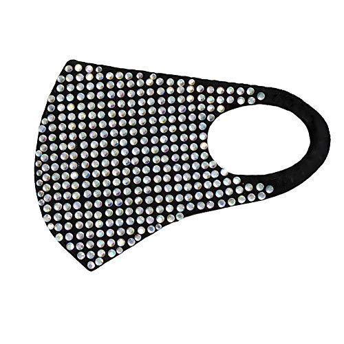 CCbodily Halloween Kunoichi Masquerade Mask for Women - Rhinestone Masquerade Mask Necklace Jewelry for Women (Black/Crystal-01)