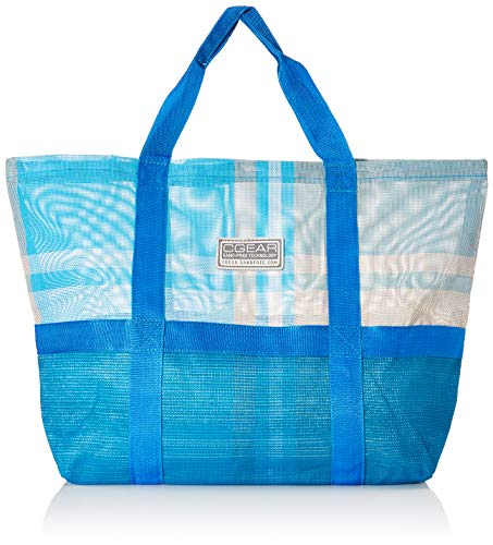 CGear Sand-Free Tote Bag I – Patented Mesh Technology – Classic Beach Bag Look – Large, Lightweight Open Top Design, Single Pocket, and Contoured Handle Straps
