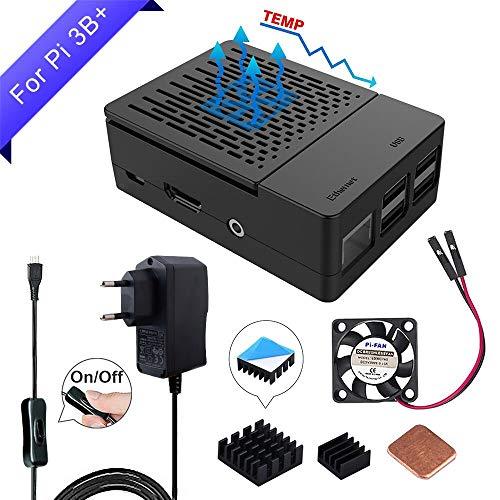 GeeekPi Raspberry Pi 3 B + Custodia con Ventola di Raffreddamento, Alimentatore EU 5V 2.5A, dissipatori di Calore 3PCS per Raspberry Pi 3/2 Modello B (Non Include Scheda Raspberry Pi)