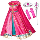 Arabian Princess Costume Dress for Little Girls Birthday Christmas,Halloween Party with Gloves,Crown,Wand Accessories (Red) 7-8 Years