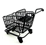 Melody Jane Dolls Houses Black Shopping Trolley Cart with Baby Seat Miniature Shop Accessory