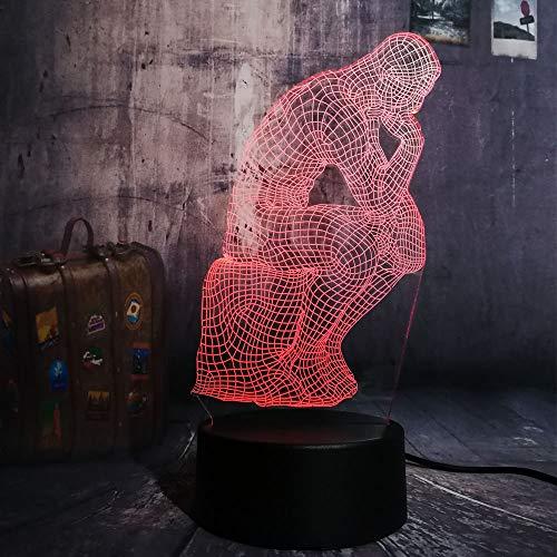 NEUE Neuheit Le Poete Thinker USB 3D LED Nachtlicht USB Tischlampe Kinder Geburtstagsgeschenk Nachtzimmer Dekoration