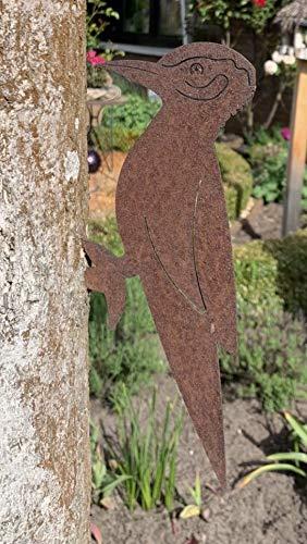 Edel-Rost Garten Specht Vogel Tierfigur Metall für den Baum Zaunpfahl