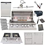 Lion 40-Inch Natural Gas Grill L90000 with 4 Ceramic Tubes w/Flame Tray and Door and Drawer Combo and Double Side Burner and Refrigerator and 5 in 1 BBQ Tool Set Best of Backyard Gourmet Package Deal