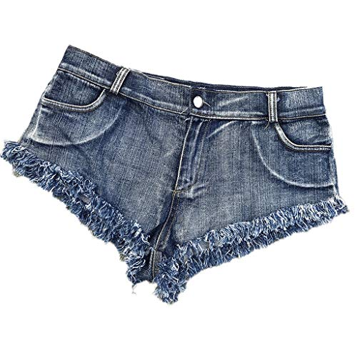 Mujeres Sexy Cut Off Destroyed Ripped Micro Stretch Low Rise Mini Denim Shorts Cheeky Jean Short Hot Pants (Color : Azul, Tamaño : S)