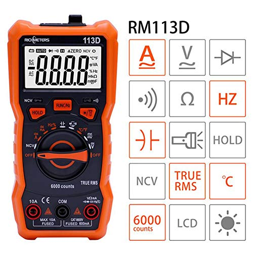 LOISK Digital Multimeter True RMS Auto-Range 6000 Zähler, misst Spannung, Strom, Kapazität, Temperatur, Widerstand mit Display-Licht für Elektriker