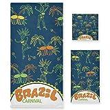 LUPINZ Brazilian Element - Juego de toallas de mano y toalla de baño (3 piezas)