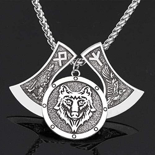 NC163 Collar para Hombre, Cabeza de Lobo, Hacha, Amuleto, Collar Peant, Runa de Lobo, Cadena de Cuello Largo, joyería Nacional, Regalo de Novio