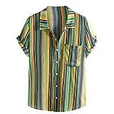 Dragon868 Camisas Sueltas de Manga Corta con Rayas Coloridas a Rayas con Cuello de Soporte étnico para Hombres (Verde,M)