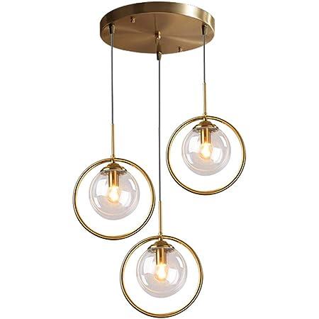 HJXDtech Suspension Lustre Industrielle Vintage, Plafonnier Lampe en Laiton avec Abat-jour en Verre,Luminaire Suspendu loft Moderne pour Cuisine Chambre Salon (3 Lumières-Clair)