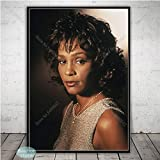 SQSHBBC Blanco y Negro Whitney Houston Poster Music Star Canvas Painting Carteles e Impresiones Wall Art Picture for Living Room Home Decor A5 20x30cm SIN Marco