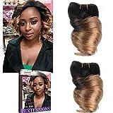 Emmet Lot de 2 Extension de cheveux 100% humain 20,3 cm Cheveux brésiliens Courts Ondulés Bouclés Grande tresse 50 g/pièce...