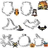 Formine Biscotti Set di Halloween, Tagliabiscotti in Acciaio Inossidabile 7 Pezzi per la Cottura - Zucca, Cappello da Strega, Ragno, Pipistrello Stampi Biscotti di Halloween