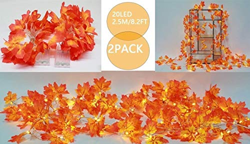 Props Halloween Decorations, 20led Maple Leaf String Lights Halloween Lights, Decoration Halloween Decorations Outdoor Suitable for Wedding Halloween Party Supplies ( Color : Yellow , Size : 2PK )
