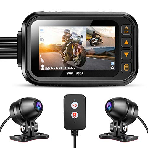 Motorcycle Camera Dash Cam, WonVon MT35 1080P+720P Dual AHD Front Rear Bike Dashcam with 3'' IPS Screen G-Sensor Parking Mode Waterproof Loop Recording Bike Cycle Driving Recorder