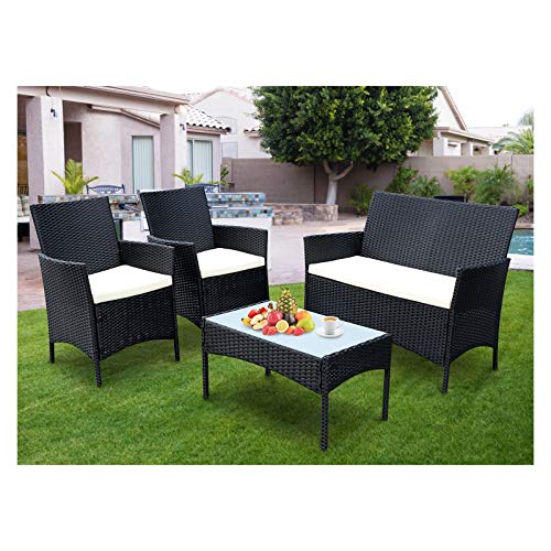 SIMBR 4 Pieces Outdoor Patio Furniture Sets Wicker Chairs with Coffee Table Conversation Sets...
