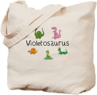 CafePress Violetosaurus Natural Canvas Tote Bag, Cloth Shopping Bag