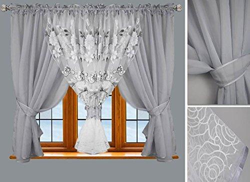 Fertiggardine Gardine 500x150 cm Vorhänge Moderne Fenstergardine Voile NEU