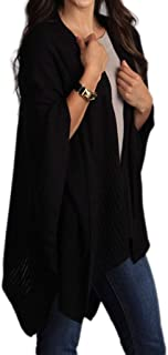 StylesILove Chic Knitted Poncho Cape Shawl Cardigan Wrap with Pockets, 3 Colors