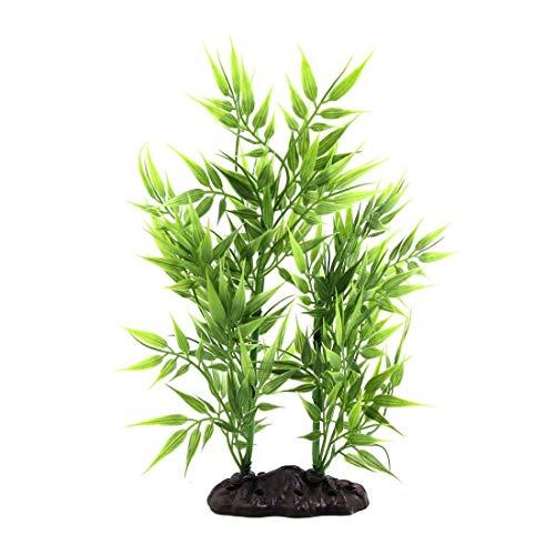 Chenbz Kunststoff-Bambus-Blätter Pflanze Betta-Behälter-Aquarium Aquascape Dekor w/Keramik-Basis