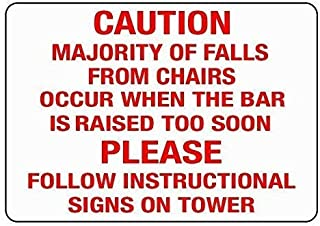 CoagulY Safety, Attention, Warning Caution Majority Fall from Chair Occur Bar is Raised 8X12 inches Metal tin Sign Designa...