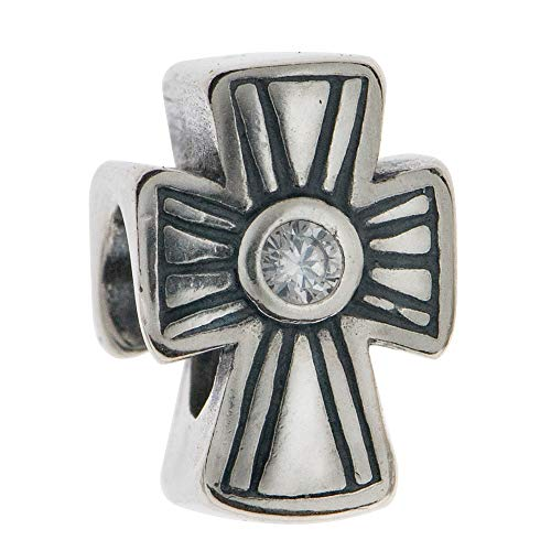 Abalorio de plata de ley 925 con diseño de cruz cristiana de fe relig