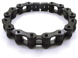 Bracciale catena moto in acciaio inossidabile colore nero firmato Desja con shopper e custodia in omaggio