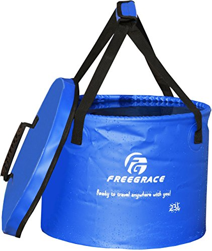 Freegrace Premium Collapsible Bucket -Multifunctional Folding Bucket -Perfect Gear for Camping, Hiking & Travel (Navy Blue, 16L(Upgraded))