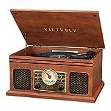 Victrola VTA-250B-MAH 4-en-1 Nostálgico reproductor de grabación Bluetooth con radio FM de 3 velocidades y caoba auxiliar