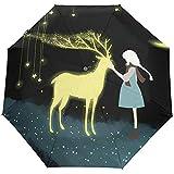 Wheatleya Wind-und regensicherer Reiseschirm Davids Hirsch und Mädchen tragbarer Faltbarer Sonnenregenschirm