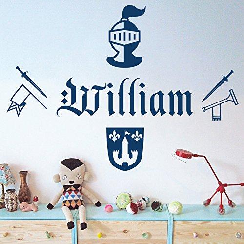 Personnalisée Nom Garçons Sticker mural – Chevalier, épée, Armour, TROMPETTE, bras, Shield – [simplement nous envoyer un message avec le nom.], Poppy, Large (950x290mm)