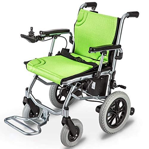 JSYCD Leichter Rollstuhl, Elektrorollstuhl offen/schnell zusammenklappbar Leichtester Elektrorollstuhlantrieb mit Elektroantrieb oder manuellem Rollstuhl bis zu Einer Reichweite von 12 Meilen, grün
