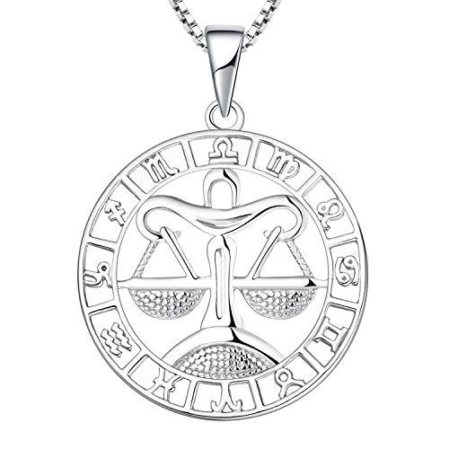 YL Silber Waage Halskette-925 Sterling Silber Horoskop Sternzeichen 12 Konstellation Anhänger Halskette für Damen