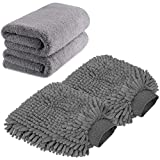 TAGVO Large Size Car Wash Mitt-Premium Chenille Microfiber Wash Glove and Microfiber Towels - Lint Free(2 Towels + 2 Mitts)