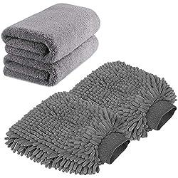top 10 car wash mit TAGVO Mitt-Premium Chenille Microfiber Wash Gloves Large Car Wash Gloves and Microfiber Towels –…