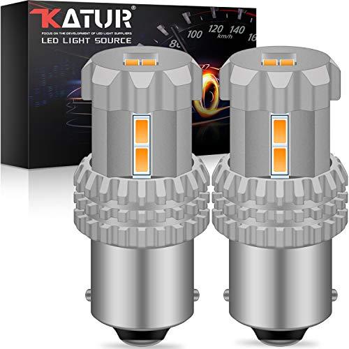 KATUR 1156 BA15S 1141 7506 P21W Bombillas LED de alta potencia 12pcs 3020SMD 2800LM Usado para luz de respaldo Luz trasera Luz de freno ámbar (paquete de 2)