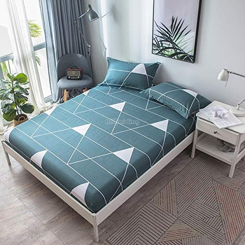 Hllhpc Stijlvolle beige gele driehoek geometrische fit vellen dubbele full-size vellen met elastische band 100% katoen bedekt in huis en tuin