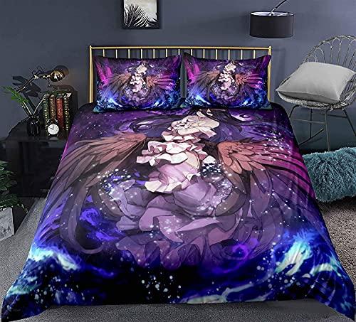H-LIFE Juego de ropa de cama 3D, diseño de Overlord, Anime Ainz Ooal Gown, adecuado para todas las estaciones (Overlord-1,200 x 200 cm + 50 x 80 cm x 2)