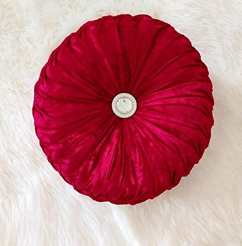 Almohada redonda de terciopelo de calabaza para el suelo del sofá, cojín decorativo para el hogar, sofá, silla, cama, coche (vino tinto, 35 x 35 cm)