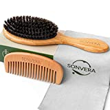 Hair Brush Boar Bristle Hair Brush Set With Wooden Comb Natural Soft Hair Brushes For Women Kids Mens Hair Brush For Straightening Styling Smoothing Brush Adds Shine Fine Hair Brush For Men Hairbrush