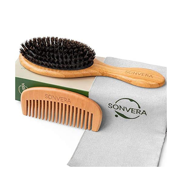 Beauty Shopping Hair Brush Boar Bristle Hair Brush Set With Wooden Comb Natural